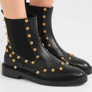 BALENCIAGA STUDDED LEATHER ANKLE BOOTS